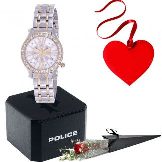 Police For Women Pearl Dial Stainless Steel Watch Valentine Package