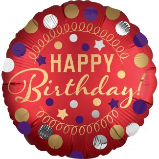 Red satin Happy Birthday party Balloon