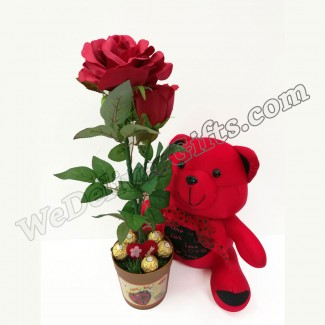 Artificial singing rose With Chocolate and Bear