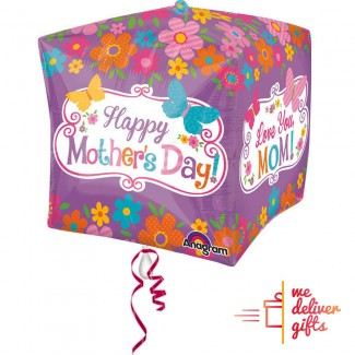 Mothers Day Flowers and Butterflies CUBE Balloon