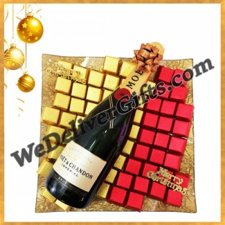 Moet and Chocolate in a Gold Plate