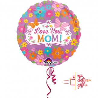 Love Mom Flowers and Butterflies BALLOON