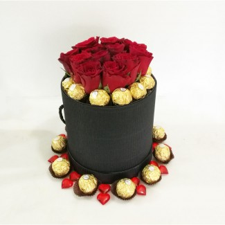 Black Elegant Cylinder Rose and Ferrero