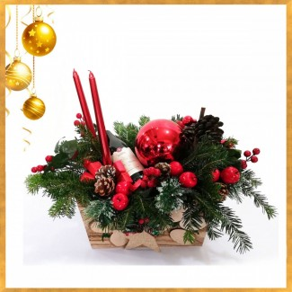 Christmas Wine Decorated Basket