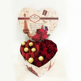 Roses,Strawberries and Ferrero Chocolate Box
