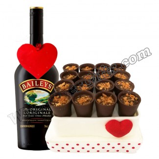 Chocolate shots decorated with Lotus sprinkles with baileys