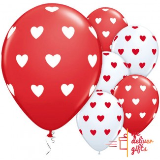 Flying Love Balloon White and Red