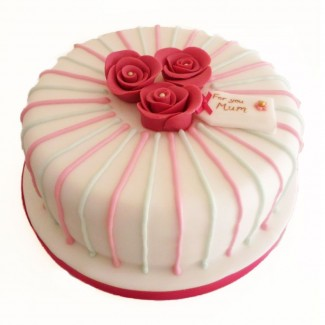 Three Pink Roses Cake For your Mom