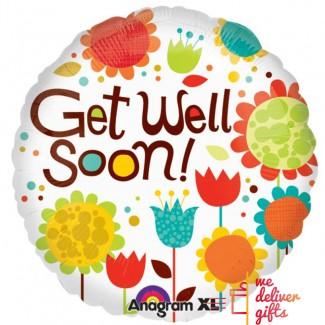 Get Well Soon Cheery Flowers Balloon