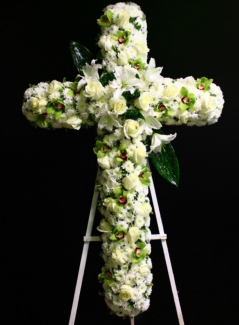 Sympathy White Roses Cross