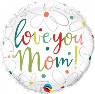 Love You Mom Scribble Flowers Balloon