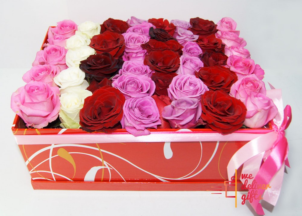 Four Dozen Multicolored Roses In A Gift Box We Deliver Gifts Lebanon