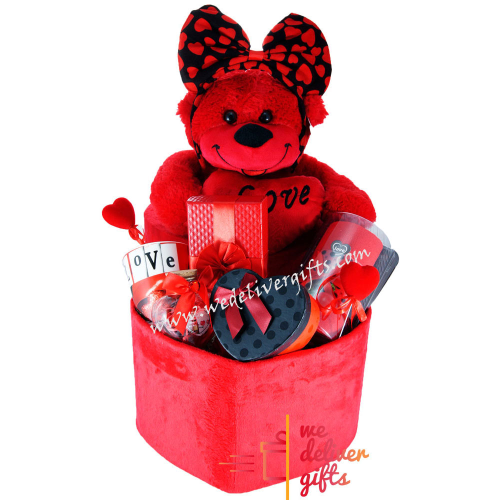 Chocolates And Teddy Bear Gift Basket. Loading zoom