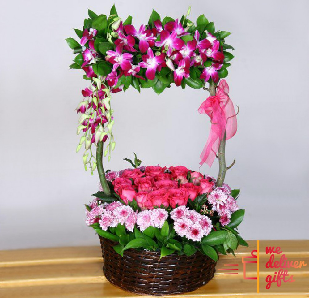 Pink butterfly flowers basket we deliver gifts lebanon pink butterfly flowers basket loading zoom mightylinksfo