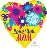 Love You Mom bright flowers Balloon