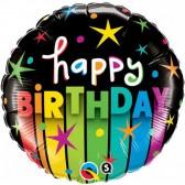 Happy Birthday Stripes Foil Balloon
