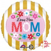 Love You Mom Gold Stripes Balloon