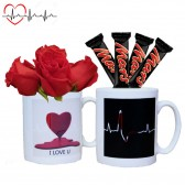 Heartbeat Color Changing Mug filled with Roses and Chocolate