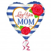 Striped heart Love You Mom Balloon